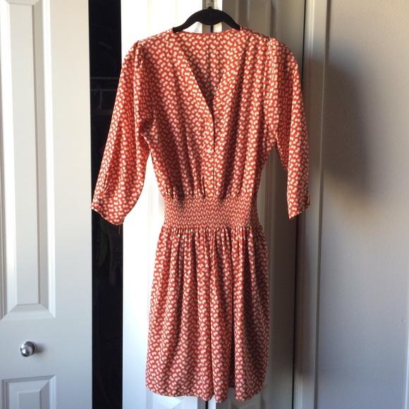 Dresses & Skirts - ⭐️Korean Style Floral Dress Burnt Orange